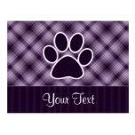 Purple Paw Print Postcard