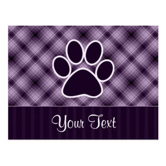 Purple Paw Print Postcard