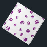 """Purple Paw Prints Pattern Bandana<br><div class=""""desc"""">Show how much you love animals with this cute purple animal paw print patterned bandana. Also looks awesome with other backgrounds. Bet your pet will look adorable wearing it!</div>"""