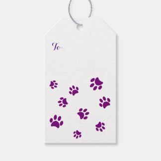 Purple Paw Prints Pattern Gift Tags