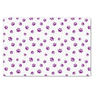 Purple Paw Prints Pattern Tissue Paper