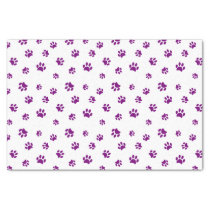 Purple Paw Prints Pattern Tissue Paper