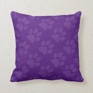 Purple Paw Prints Throw Pillow