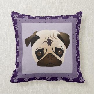 Purple Paw Pug Pillow