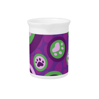 Purple Paws Dog Lovers Print Drink Pitcher