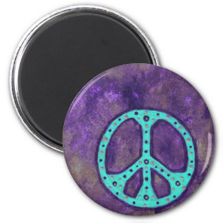 Purple Peace 2 Inch Round Magnet