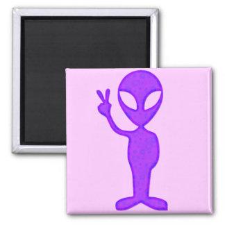 Purple Peace Alien 2 Inch Square Magnet