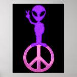 Purple Peace Alien Poster Print