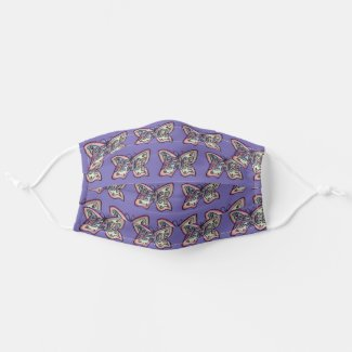 Purple Peace Butterfly Art Custom Face Masks