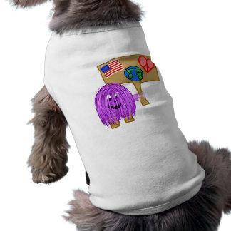 Purple Peace Love Earth America Dog Tee Shirt