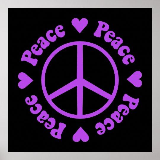 Purple Peace & Love Poster