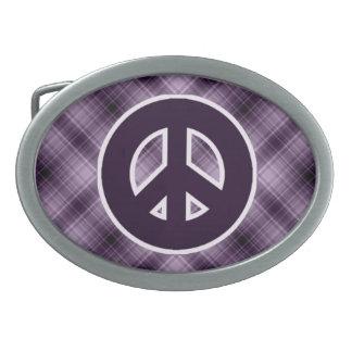 Purple Peace Sign Oval Belt Buckle