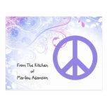 Purple Peace Sign Flowers Recipe Cards Postcard
