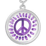 Purple peace sign necklace