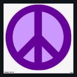 """Purple Peace Sign Wall Sticker<br><div class=""""desc"""">Two shades of purple on a peace sign. You can change the background on this design if you want to customize with your favorite color.</div>"""