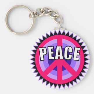 Purple Peace Symbol Basic Round Button Keychain