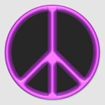 Purple Peace Symbol Classic Round Sticker