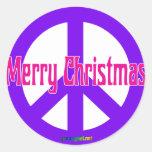 Purple Peace Symbol Round Sticker