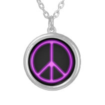 Purple Peace Symbol Silver Plated Necklace