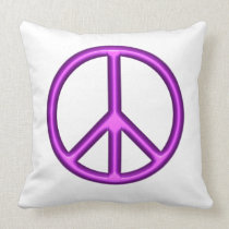 Purple Peace Symbol Throw Pillow