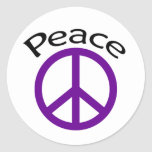 Purple Peace & Word Classic Round Sticker