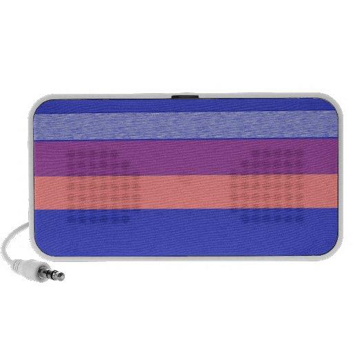 purple peach and blue against darker blue stripes travel speakers