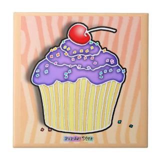 Purple, Peach and Pink Pop Art Cupcake Tile