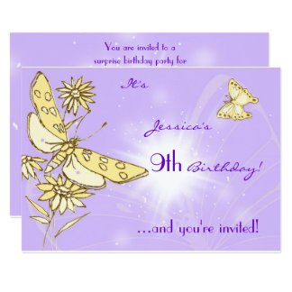 Purple Peach Butterfly Invitation Card