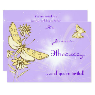 Purple Peach Butterfly RSVP Card