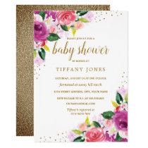 Purple Peach Floral Watercolor Baby Shower Invite