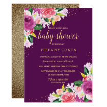 Purple Peach Gold Floral Watercolor Baby Shower Invitation