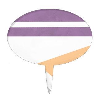 Purple Peach Grey Gray Stripes Phone Case iPhone Cake Topper