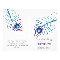 purple peacock bi fold Wedding program