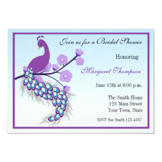 Purple Peacock Bridal Shower Invitation