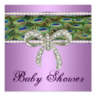 Purple Peacock Diamond Bow Baby Shower Invitation