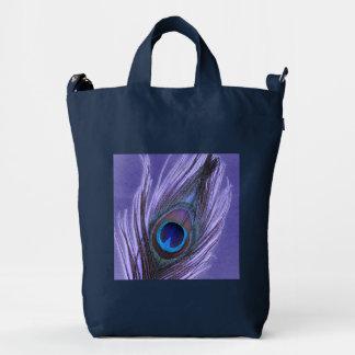 Purple Peacock Featber on Navy Duck Bag