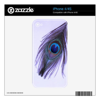 Purple Peacock Feather 2 Skins For iPhone 4