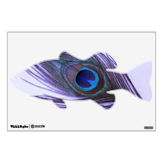 Purple Peacock Feather Bass Wall Decal