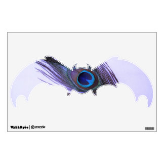 Purple Peacock Feather Bat Wall Decal
