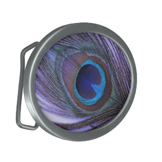 Purple Peacock Feather Belt Buckle