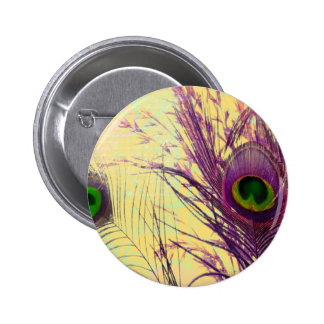 Purple Peacock Feather 2 Inch Round Button