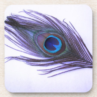 Purple Peacock Feather Coaster
