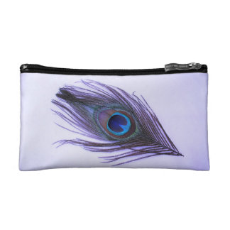 Purple Peacock Feather Cosmetic Bag