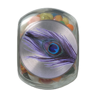 Purple Peacock Feather Glass Candy Jar