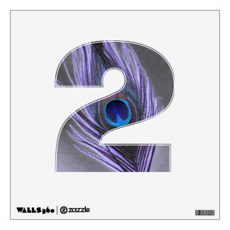 Purple Peacock Feather on Black 2 Wall Decal
