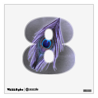 Purple Peacock Feather on Black 8 Wall Decal