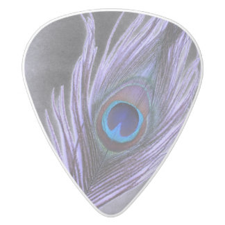 Purple Peacock Feather on Black Add Photo White Delrin Guitar Pick