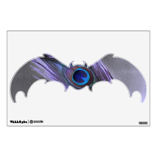 Purple Peacock Feather on Black Bat Wall Decal