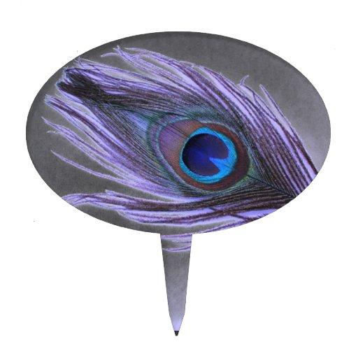 Purple Peacock Feather on Black Cake Picks