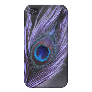 Purple Peacock Feather on Black Case For iPhone 4